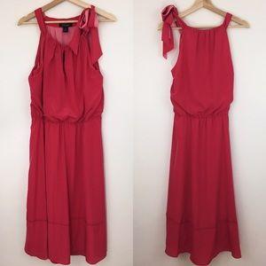 WHBM | Coral Chiffon Blouson Dress Tie Strap NWT